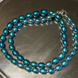 925 Teal Graduated Faux? Pearl Necklace